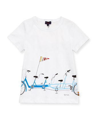 Boys' Bike-Print Tee, Sizes 8-10