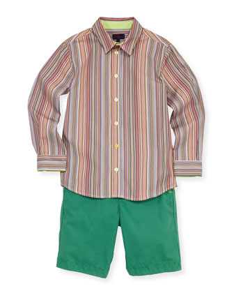Boys' Striped Button-Down Shirt, Sizes 8-10