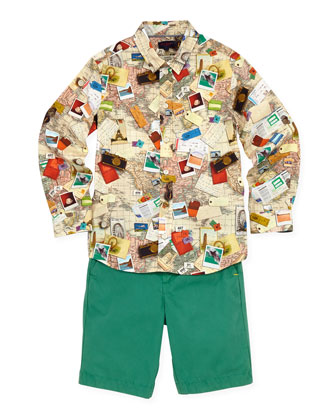 Boys' World-Map Button-Down Shirt, Sizes 8-10