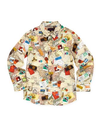 Toddler Boys' World-Map Button-Down Shirt, Sizes 2-6