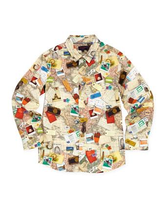 Toddler Boys' World-Map Button-Down Shirt, Sizes 2-6