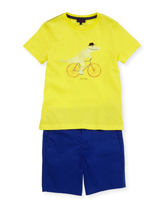 Boys' Classic Bermuda Shorts, Blue, Sizes 8-10