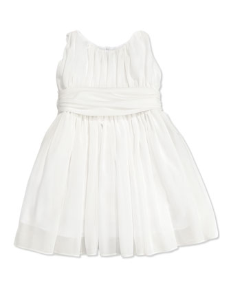 Girls' Shirred Georgette Dress, White, 4-6X