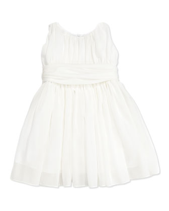 Toddler Girls' Shirred Georgette Dress, White, 2T-3T