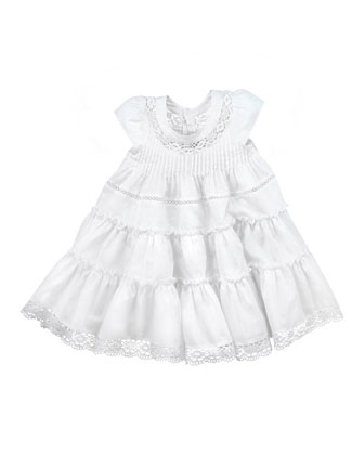 Tiered Cotton Dress, White, 8Y-10Y