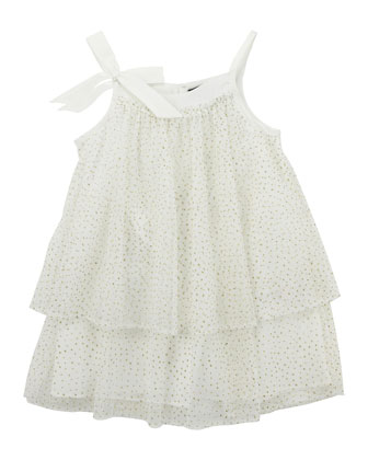 Glitter Layered Tulle Dress, Ivory, 8Y-10Y