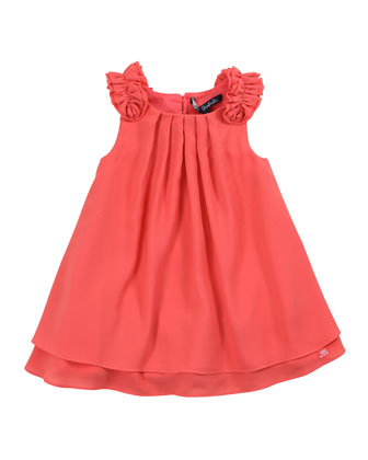 Lias Pleated Crepe Dress, Papaye, 8Y-10Y