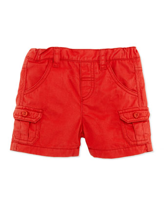 Patch-Pocket Twill Shorts, Red, 1m-18m
