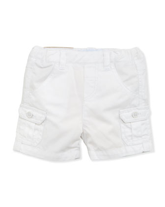 Patch-Pocket Twill Shorts, White, 1m-18m