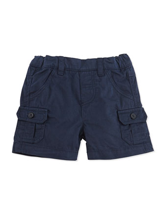 Cotton Cargo Shorts, Navy, Infant Boys' 1M-18M