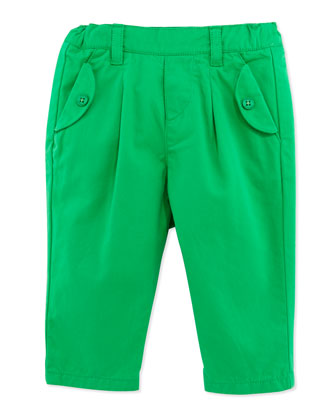 Pleated Twill Pants, Green, 1m-18m