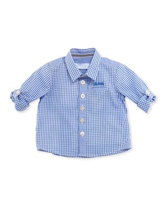 Gingham-Check Long-Sleeve Shirt, Blue, 1m-18m