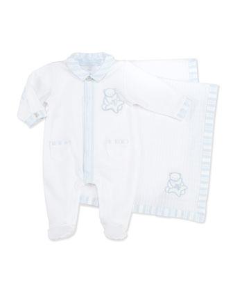 Footie & Blanket Gift Set, Light Blue