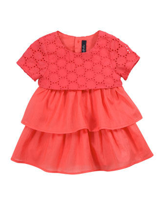 Lady Layered Dress with Bloomer, Papaye, 3-18 Months