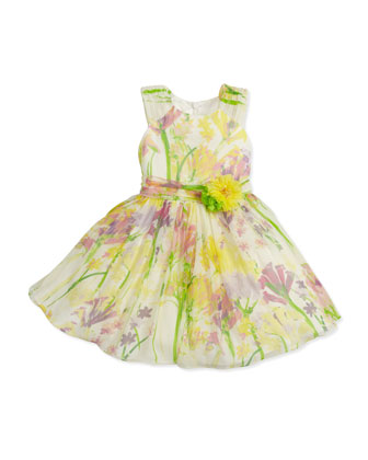 Floral-Print Silk Dress, Green/Yellow, 2Y-10Y