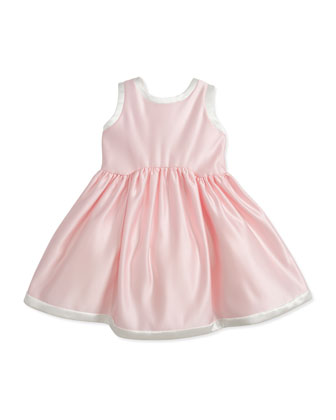 Satin Dress with V'd Back, Pink/Ivory, 2Y-10Y
