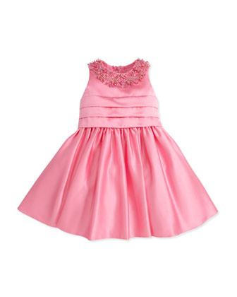 Satin Jewel-Collar Dress, Fuchsia, 2Y-10Y