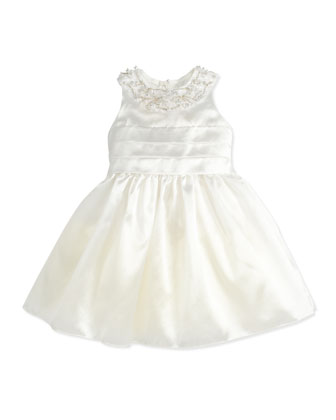 Organza Jewel-Collar Dress, Ivory, 2Y-10Y