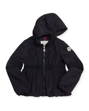 Glycine Hooded Rain Jacket, Navy, Girls' 8-10