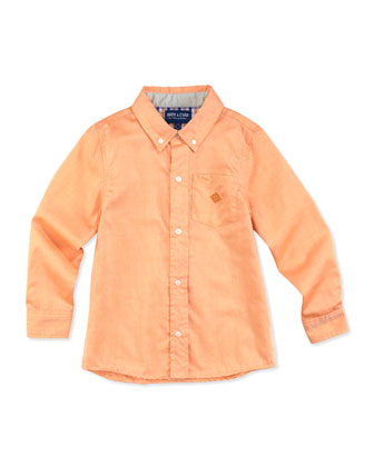 Little S'Collar Button-Down Shirt, Orange, 2T-7