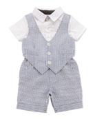 One-Piece Seersucker Vest & Short Set