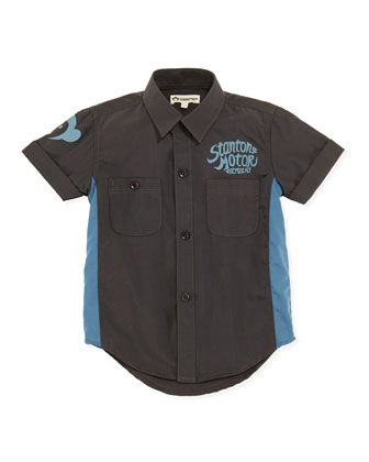 Harald Button-Down Shirt, Black/Blue, Boys' 2T-10