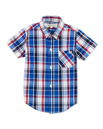 Tilden Plaid Button-Down Shirt, Pacific Blue, Boys' 2T-10