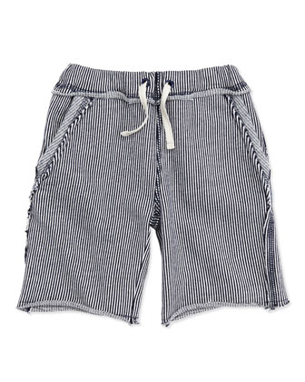 Brighton Railroad-Stripe Shorts, Navy, Boys' 2T-10