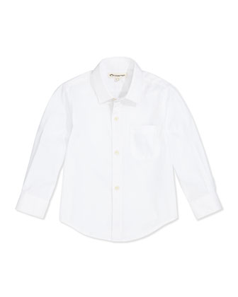 Poplin Dress Shirt, White, Boys' 2T-10