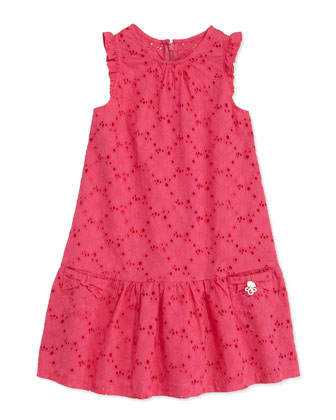 Eyelet Drop-Waist Dress, Fuchsia, Sizes 8-10