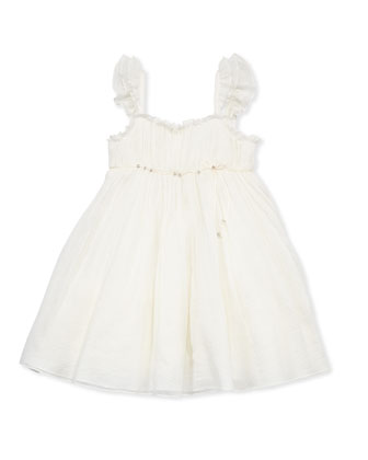Girls' Festival Ribbed-Chiffon Dress, Off White, Sizes 8-10