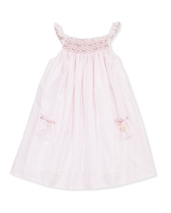 Girls' Striped Smocked Dress, Pink, 8-10
