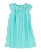 Glitter-Piped Pleated Voile Dress, Sizes 2-6