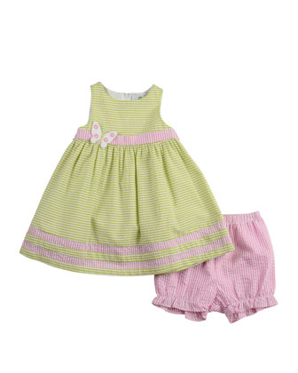 Seersucker Dress with Butterfly, Green/White/Pink, 3-9 Months
