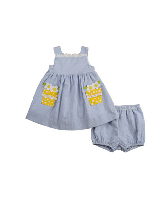 Flower-Pot Seersucker Dress, Blue/White, 3-9 Months