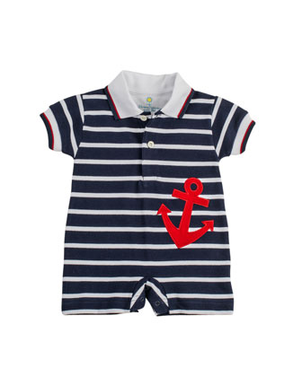 Anchor Pique-Knit Short-Playsuit, Navy/White, 3-9 Months