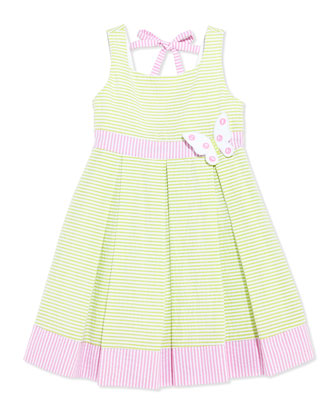 Girls' Seersucker Butterfly Dress, Green/White/Pink, 4-6X