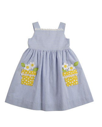 Girls' Flower-Pot Seersucker Dress, 2T-3T