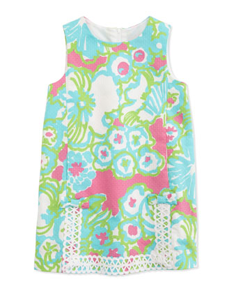 Lace-Trim Little Lilly Classic Shift Dress, Pink, Sizes 2-10