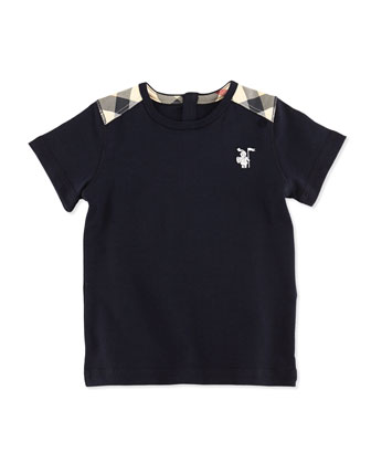 Toddler Boys' Check-Shoulder Tee, Navy