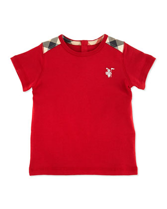 Toddler Boys' Check-Shoulder Tee, Red