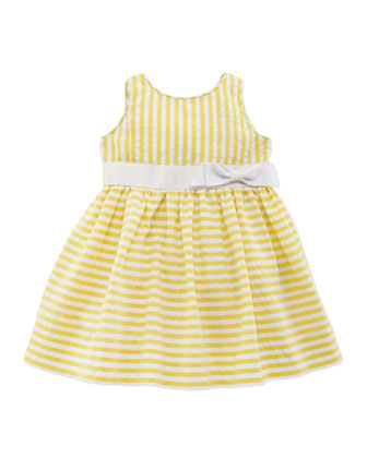 Vintage Seersucker Dress, Yellow, 9-24 Months