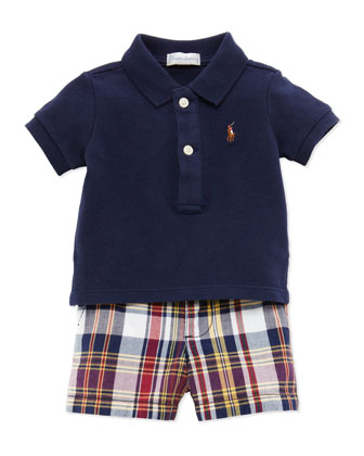 Polo & Plaid Shorts Set, Navy, 9-24 Months