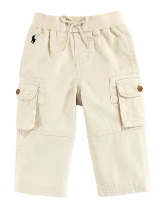 Woven Pull-On Pants, Sand, 9-24 Months