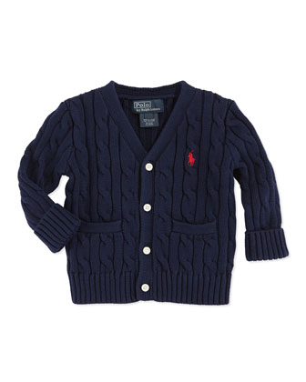 Classic Cable-Knit V-Neck Cardigan, Navy, 9-24 Months
