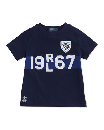 Cotton Logo Tee, Navy, Boys' 4-7