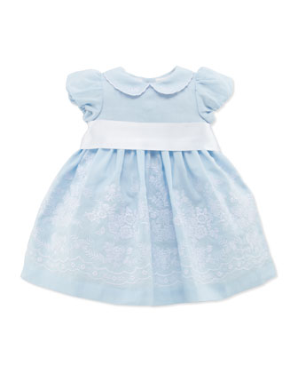 Embroidered Ramie Dress, Light Blue, 3-12 Months