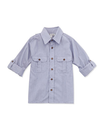 Reece Striped Camp Shirt, Navy, 2Y-10Y