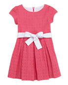 Sammy Box-Pleat Eyelet Dress, Pink, 2Y-10Y