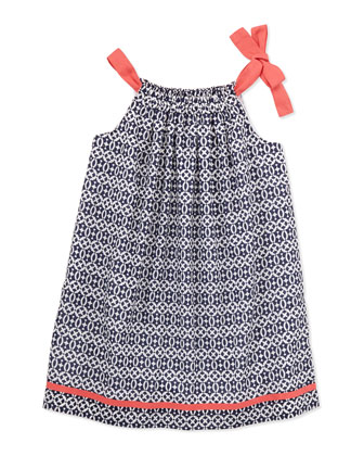 Charlotte Shoulder-Tie Dress, Navy, 2Y-10Y